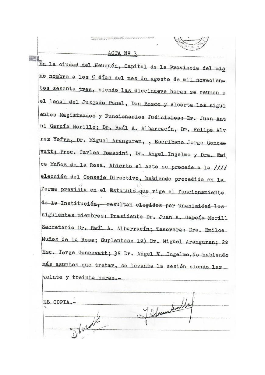Acta Primera Comision AMyF 05-8-63